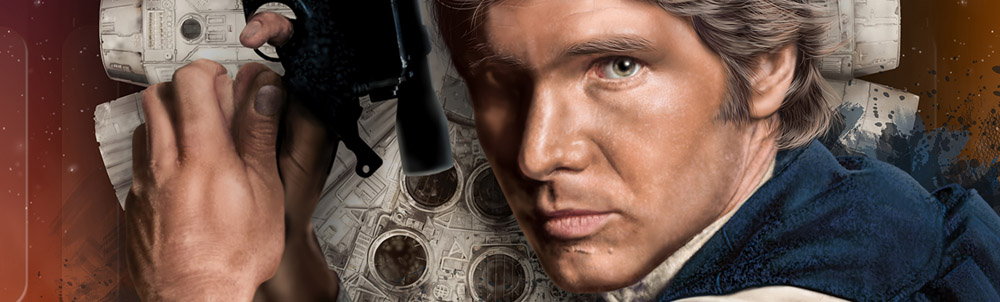 Han Solo and Millenium Falcon, Star Wars Art Print
