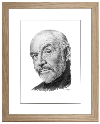Sean Connery Framed Original Pencil Drawing