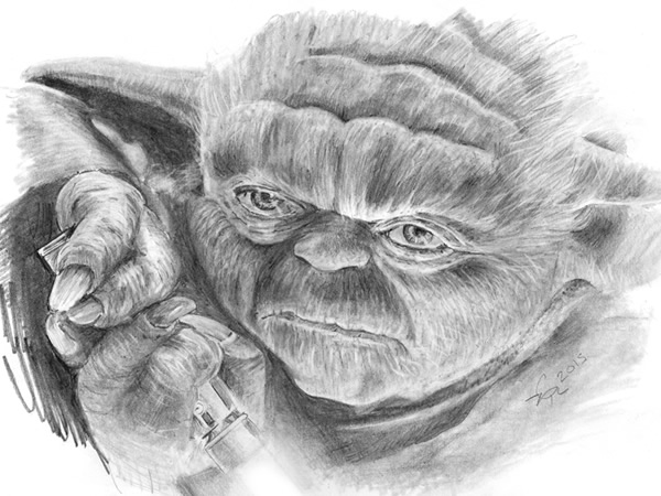 Yoda pencil drawing