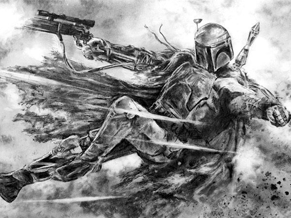 Boba Fett Pencil Drawing