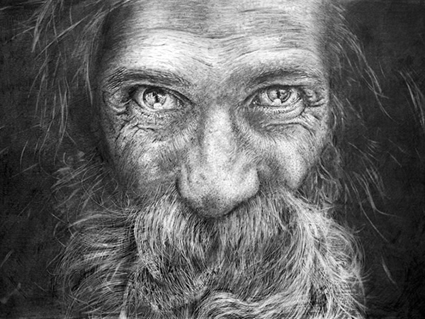 Old man face drawing